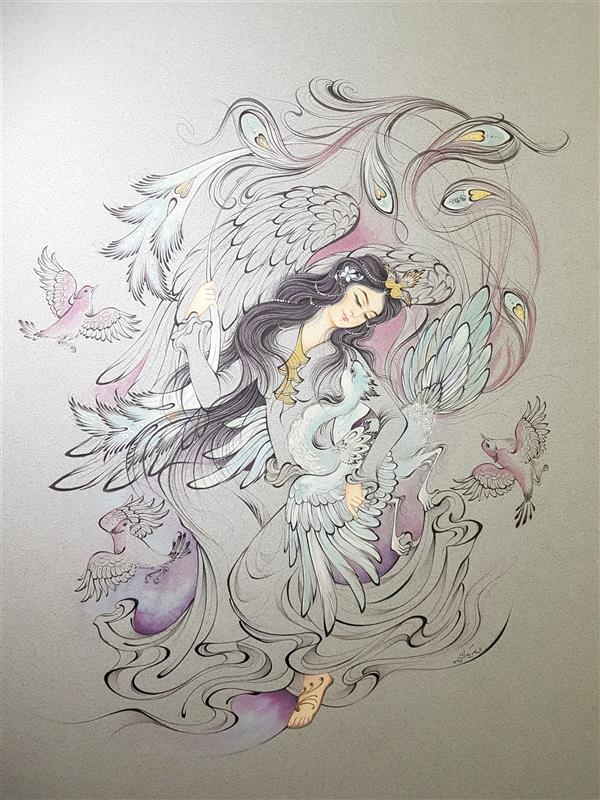 هنر نقاشی و گرافیک محفل نقاشی و گرافیک الهام بیک زاده رهایی خیال، ۵۰×۷۰، تکنیک قلمگیری، آب مرکب و آبرنگ، الهام بیک زاده