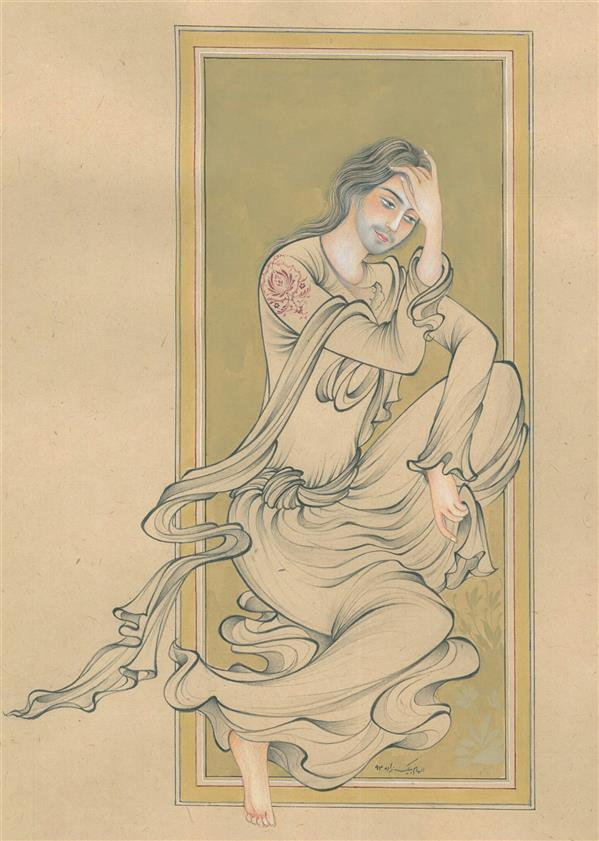 هنر نقاشی و گرافیک محفل نقاشی و گرافیک الهام بیک زاده سکوت تنهایی، ۳۵×۵۰، تکنیک قلمگیری، آب مرکب و آبرنگ
