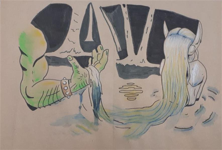 هنر نقاشی و گرافیک محفل نقاشی و گرافیک علی محمد غیبی زاده (عشق)الاغ و غول((Donkey and oger))  صفحه اول(صفحات باهم خریداری شود.لطفا) ماژیک-راپید-مداد رنگی و آبرنگی-پاستل روغنی-کاغذ گراف #حمایت