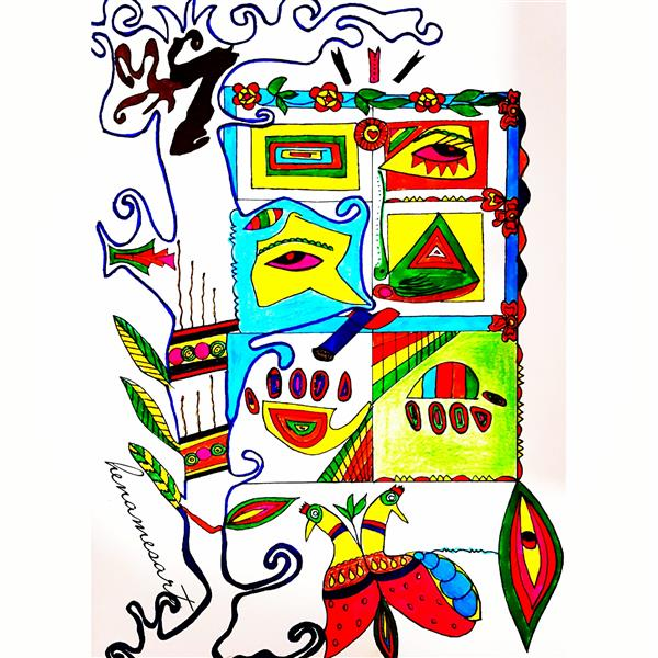 هنر نقاشی و گرافیک محفل نقاشی و گرافیک سمانه میرزاخانی تابلو #ذهنی و #سوریال قاب شده با ابعاد 27*33, آبرنگ و مداد رنگی روی کاغذ فابریانو #فروشنقاشی