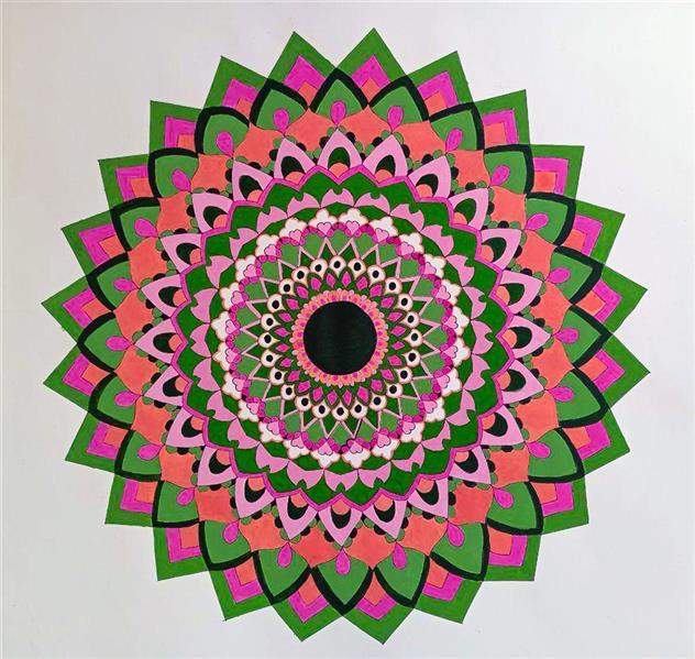 هنر نقاشی و گرافیک محفل نقاشی و گرافیک زینب ابراهیم زاده این اثر جزو نقاشی های #مدرن در سبک ماندالا .که امروزه #ماندالا را یوگای ذهن نیز مینامند این اثر بروی سطح #مقوایی با گواش و #راپید اجرا شده است.هنر دست و ظرافت های ان و همچنین ترکیب #رنگهای مورد استفاده در این اثر از ویژگی های بارز ان است. ابعاد این اثر 50*50 و بدون قاب میباشد.
