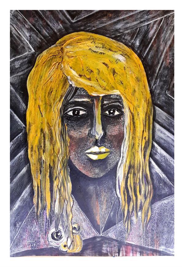هنر نقاشی و گرافیک محفل نقاشی و گرافیک شقایق طیبی Painting by shaghayegh tayebi.45×35cm.mixedmedia on cardboard.2019