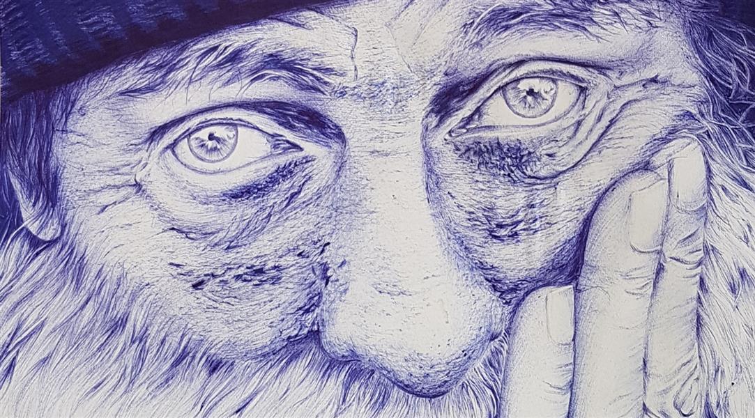 هنر نقاشی و گرافیک محفل نقاشی و گرافیک Mobinaheydari پیرمرد،تکنیک خودکار