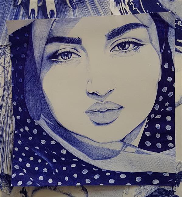 هنر نقاشی و گرافیک محفل نقاشی و گرافیک Mobinaheydari چهره با تکنیک خودکار،سیاه قلم،رنگ روغن