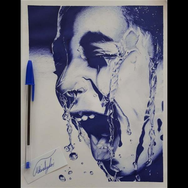 هنر نقاشی و گرافیک محفل نقاشی و گرافیک Mobinaheydari چهره خیس،تکنیک خودکار