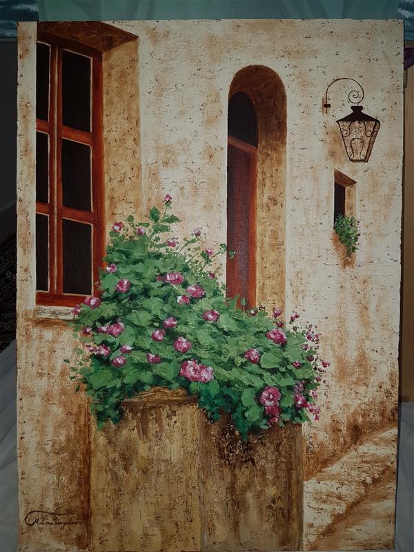 هنر نقاشی و گرافیک محفل نقاشی و گرافیک Mobinaheydari نام اثر:گل بوته،ابعاد۵۰در۷۰،تکنیک رنگ روغن