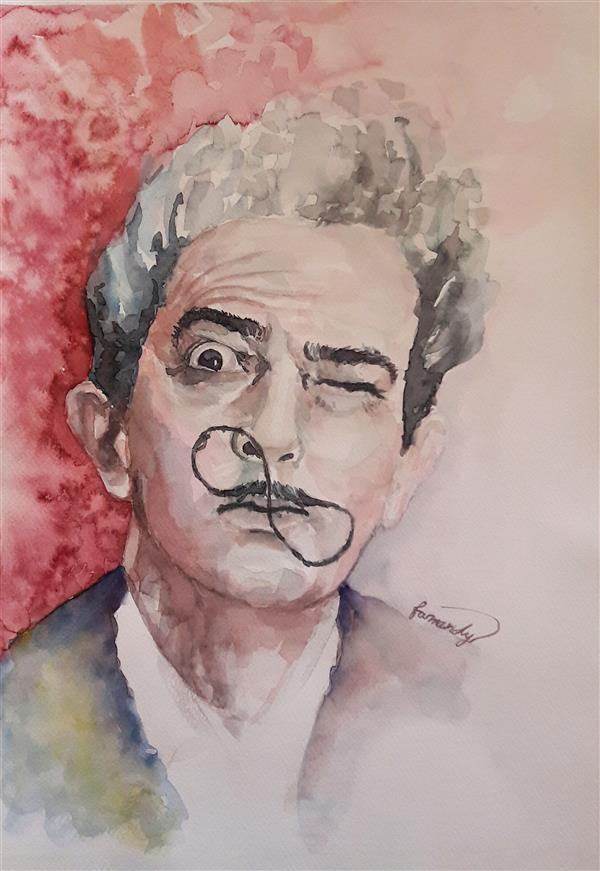 هنر نقاشی و گرافیک محفل نقاشی و گرافیک Fatemeh_Farmandi اثر فاطمه فرمندی _عنوان:سالوادور دالی_متریال:آبرنگ_ابعاد:35×50
