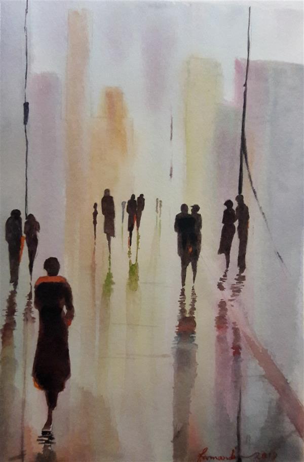 هنر نقاشی و گرافیک محفل نقاشی و گرافیک Fatemeh_Farmandi اثر فاطمه فرمندی_متریال:آبرنگ_عنوان:عصربارانی_ابعاد:21×30