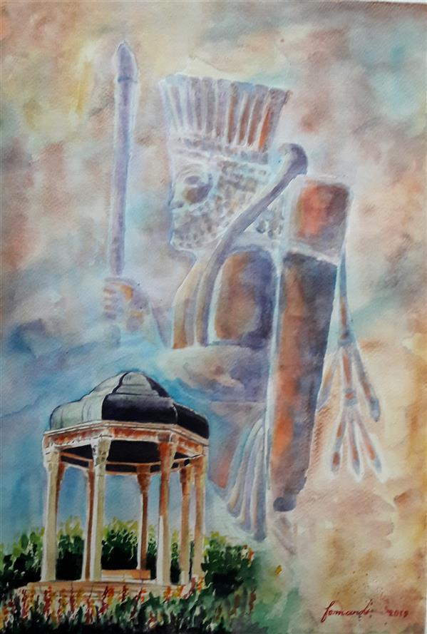 هنر نقاشی و گرافیک محفل نقاشی و گرافیک Fatemeh_Farmandi اثر فاطمه فرمندی_متریال:آبرنگ_عنوان:تمدن و فرهنگ ایران_ابعاد:35×50