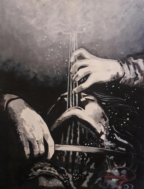هنر نقاشی و گرافیک محفل نقاشی و گرافیک Fatemeh_Farmandi اثر فاطمه فرمندی _متریال:اکریلیک30×40_عنوان: نت فریاد