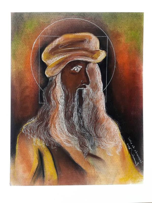 هنر نقاشی و گرافیک محفل نقاشی و گرافیک Fatemeh_Farmandi اثر فاطمه فرمندی  نقاشی #پاستل  سایز35×50 عنوان:لئوناردداوینچی