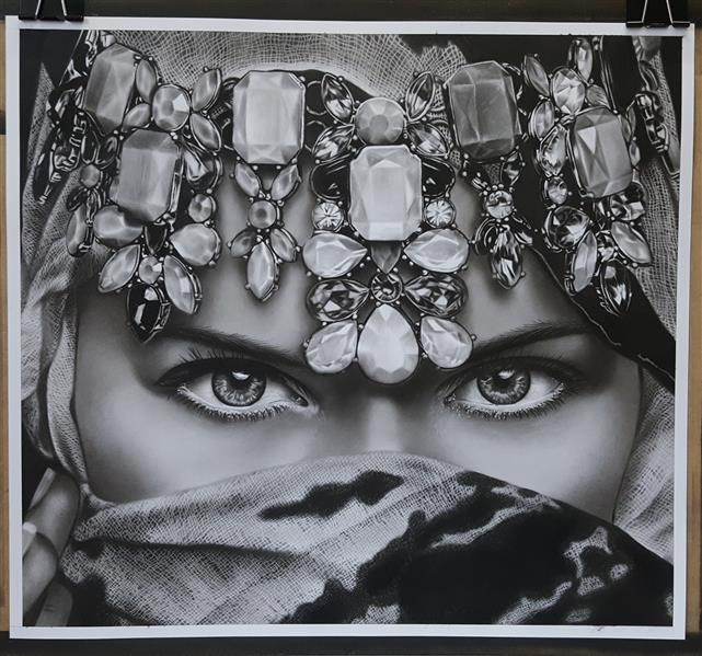 هنر نقاشی و گرافیک محفل نقاشی و گرافیک نگار رضوانی #سیاهقلم #طراحی ،ابعاد ۴۸×۵۲،همراه با قاب و پاسپارتو