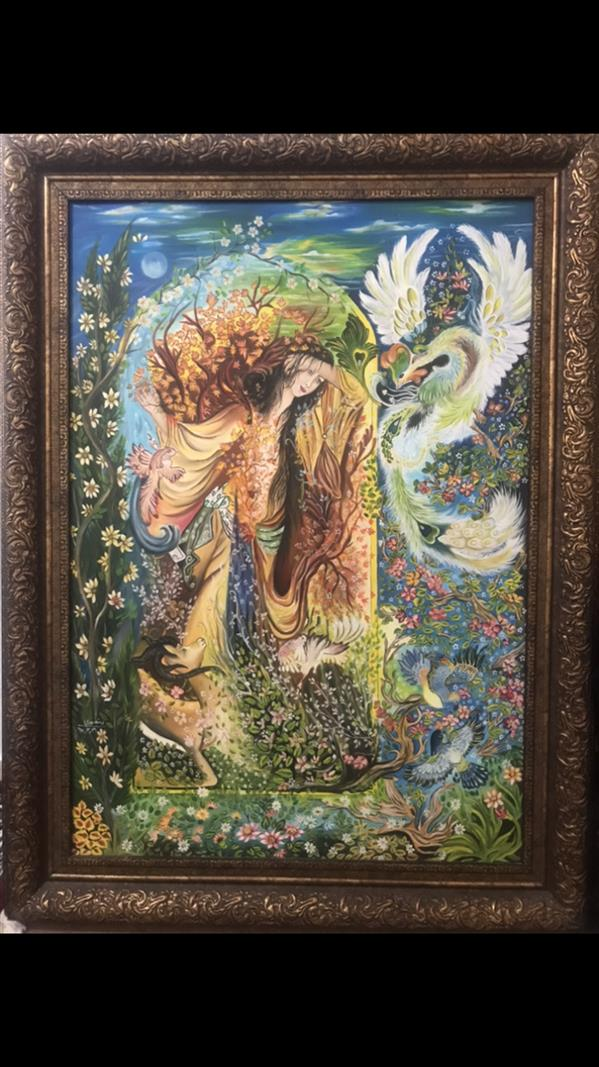 هنر نقاشی و گرافیک محفل نقاشی و گرافیک زهرا منصوری  نقاشی_مینیاتور_رنگ روغن  بوم پارچه ای _سایز ۷۰*۱۰۰