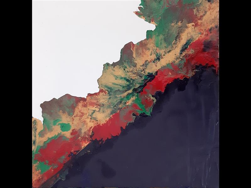 هنر نقاشی و گرافیک محفل نقاشی و گرافیک گلناز حسینی نقاشی آبستره با روکش رزین در ابعاد ۳۰×۳۰