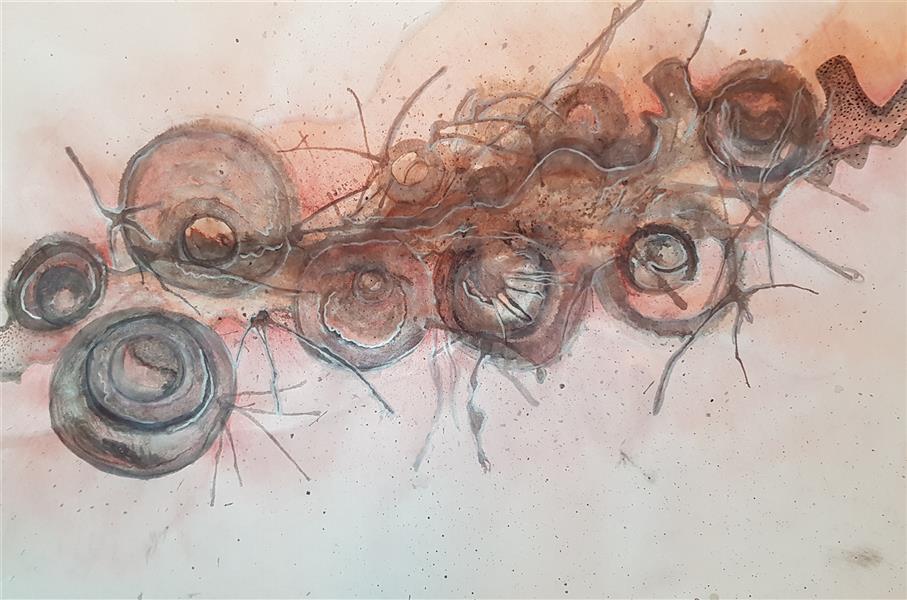 هنر نقاشی و گرافیک محفل نقاشی و گرافیک سباکرمی ابعاد_54/5×70 cm (به همراه پاسپارتو و قاب) متریال_ اب مرکب و مدادرنگی نام اثر_ آب نام هنرمند_ سبا کرمی