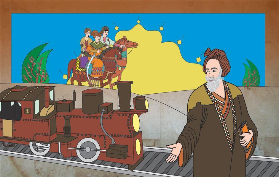 هنر نقاشی و گرافیک محفل نقاشی و گرافیک  الهام باقری تابلو:قطارزمان.اورجینال.تکنیک:پرینت روی سنگ.طرح مانند پازل کنارهم چیده میشود.قابل نصب درنمای ساختمان ولابی #نقاشی#فردوسی#فروش_نقاشی#نقاشی_فروشی#نقاشی_لابی#100honar#art_elhambagheri