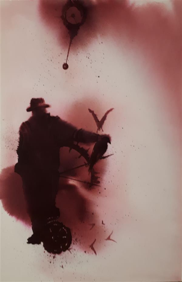 هنر نقاشی و گرافیک محفل نقاشی و گرافیک شقایق ولی خانی #دقیقه ی کوچ #متریال اکولین روی مقوا #ابعاد 35×25