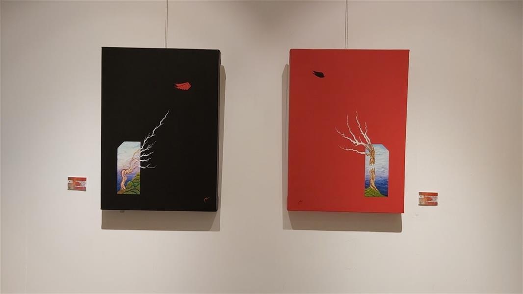 هنر نقاشی و گرافیک محفل نقاشی و گرافیک شروین محبی اثر دو لتی رنگ روغن روی بوم ۱-پرنده پرید درخت عاشق ماند ۲-خودفروشی چنار برای کلاغی زشت. ۱۳۹۸ شروین محبی