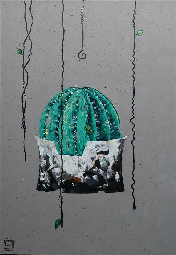 هنر نقاشی و گرافیک محفل نقاشی و گرافیک Mahdieh zeidabadi #باغ سنگی سیرجان #درویش خان  ۱۰۰ در ۷۰  رنگ روغن
