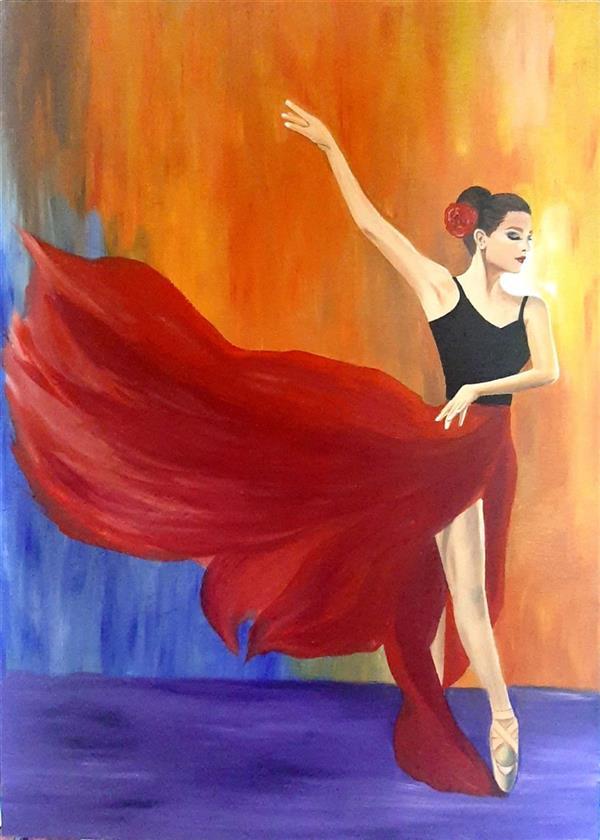 هنر نقاشی و گرافیک محفل نقاشی و گرافیک Elham fadaei دختر بالریَن #تابلو_رنگ_روغن ، #نقاشی روی چوب  #هنر #رنگ_روغن