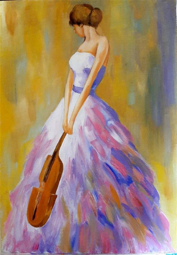 هنر نقاشی و گرافیک محفل نقاشی و گرافیک Elham fadaei دختر ویولونیست #نقاشی #رنگ_روغن روی فیبر