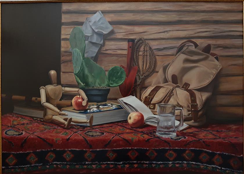 هنر نقاشی و گرافیک محفل نقاشی و گرافیک زهرا آتش صنعت نام اثر:اتاق من  #رنگ و روغن روی #بوم.#اورجینال. سایز۶۶*۹۳