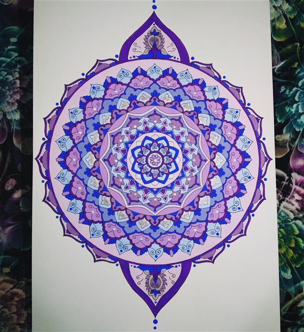 هنر نقاشی و گرافیک محفل نقاشی و گرافیک Sara pegah نقاشی #ماندالا روی #مقوا با #گواش و #راپید سایز A3 همراه با قاب