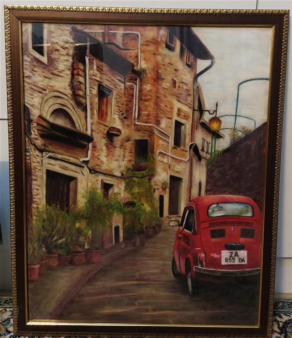 هنر نقاشی و گرافیک محفل نقاشی و گرافیک Bahar akbari تابلو نقاشی پاستل گچی روی مقوای جیر از محله های ایتالیا نقاشی شده است بهار اکبری