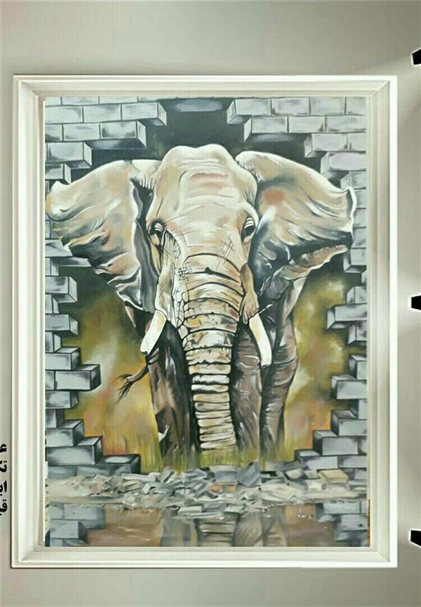 هنر نقاشی و گرافیک محفل نقاشی و گرافیک فرانک رزاقی فیل سه بعدی تکنیک رنگ روغن ابعاد ۷۰×۵۰ هنرمند فرانک رزاقی