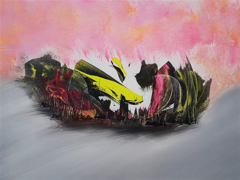هنر نقاشی و گرافیک محفل نقاشی و گرافیک  منوچهر کاشفی آبستره اکسپرسیونیسم ابعاد ۵۰ در ۷۰ - اکریلیک روی بوم