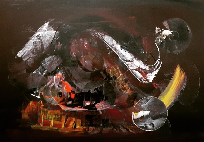 هنر نقاشی و گرافیک محفل نقاشی و گرافیک  منوچهر کاشفی #آبستره #اکسپرسیونیسم ابعاد ۵۰ در ۷۰ - اکریلیک روی بوم