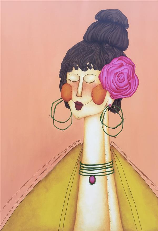 هنر نقاشی و گرافیک محفل نقاشی و گرافیک صدف عبدی #اکریلیک روی بوم ، سال۹۹، نام اثر مادمازل ، صدف عبدی