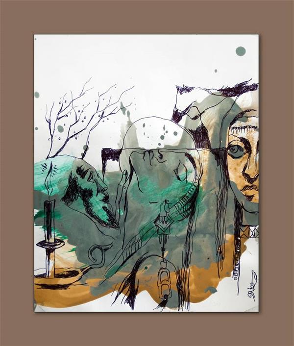 هنر نقاشی و گرافیک محفل نقاشی و گرافیک پرویز لطف الهی کاغذ گلاسه 150 گرم اکرلیک و خودکار سال 1399 از مجموعه فولکلور 6 پرویز لطف الهی