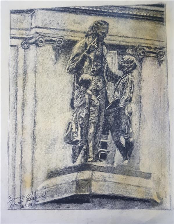 هنر نقاشی و گرافیک محفل نقاشی و گرافیک سلمان گلاب وند کنته و زغال طراحی مجسمه پستالوجی سال ۱۳۹۷
