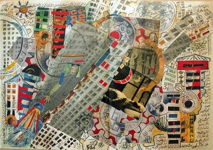 هنر نقاشی و گرافیک محفل نقاشی و گرافیک محمد محمدزاده تیتکانلو تمدن جهنمی، کولاژ و رنگ و روغن، اثر محمد محمدزاده تیتکانلو 1373