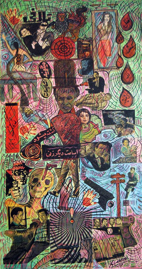 هنر نقاشی و گرافیک محفل نقاشی و گرافیک محمد محمدزاده تیتکانلو #نقاشی رنگ و روغن و کلاژ، سبک دادائیسم، عنوان: خشونت، #نقاش محمد محمدزاده تیتکانلو، 1399