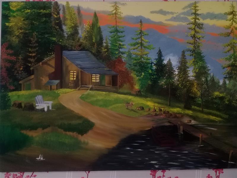 هنر نقاشی و گرافیک محفل نقاشی و گرافیک raha تابلو نقاشی منظره رنگ روغن بسیار زیبا