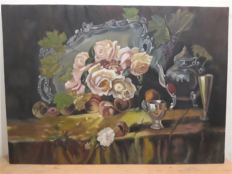 هنر نقاشی و گرافیک محفل نقاشی و گرافیک محدثه ملاشاهی رنگ روغن روی بوم  طبیعت بی جان ۱۳۹۷ محدثه ملاشاهی