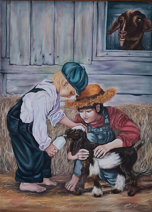 هنر نقاشی و گرافیک محفل نقاشی و گرافیک زهره شریفی زاده تابلو  نقاشی رنگ روغن  به نام بچه های روستا سبک رئال متریال بوم  سال خلق اثر :1387