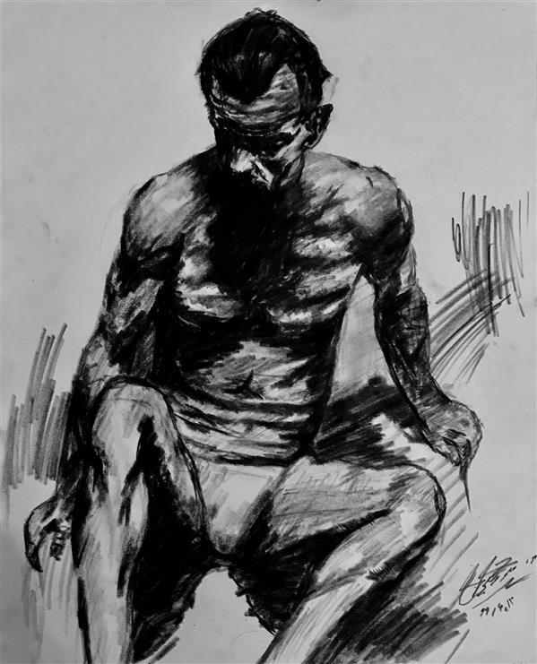 هنر نقاشی و گرافیک محفل نقاشی و گرافیک علی توسلی نام اثر مرد کنته روی کاغذ