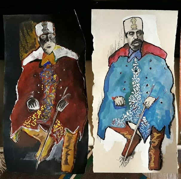 هنر نقاشی و گرافیک محفل نقاشی و گرافیک هادی ترابی اندازه بدون احتساب قاب و هر دو لت در کنار هم ترکیب مواد ناصری 1398 هادی ترابی