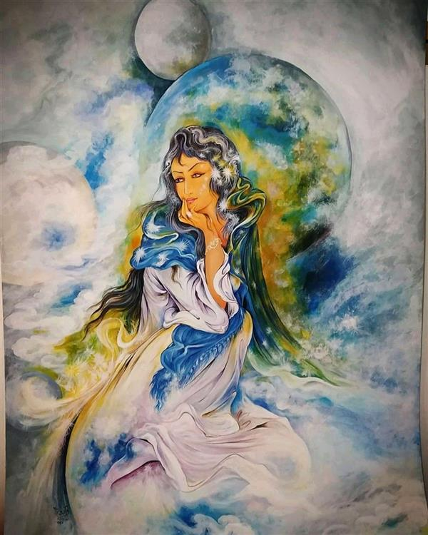 هنر نقاشی و گرافیک محفل نقاشی و گرافیک محمدباقر اشرفیان نقاشی ایرانی. کپی کار استاد فرشچیان اکریلیک روی مقوا