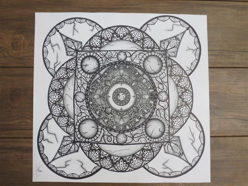 هنر نقاشی و گرافیک محفل نقاشی و گرافیک  Maryam Shahbazi هنر ماندالا راپیدگرافی کار روی مقوا اشتنباخ بدون بافت