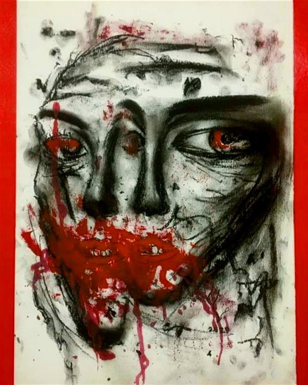 هنر نقاشی و گرافیک محفل نقاشی و گرافیک صادق رضوان پور ذغال و گواش_سال۹۸_اعتراض