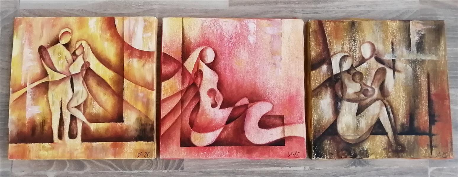 هنر نقاشی و گرافیک محفل نقاشی و گرافیک م- ح- صحرا م_ح_صحرا# نام اثر: تکامل# تابلوی سه تکه سایز هر قسمت 20*20#رنگ روغن