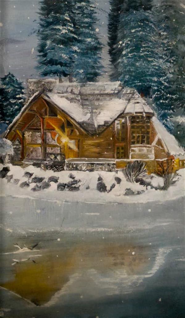 هنر نقاشی و گرافیک محفل نقاشی و گرافیک الهه حسن پوراقدم #رنگ روغن                              # نام اثر: زمستان گرم  #سایز30*40                                                            Oil colored#      #name of work: Warm winter