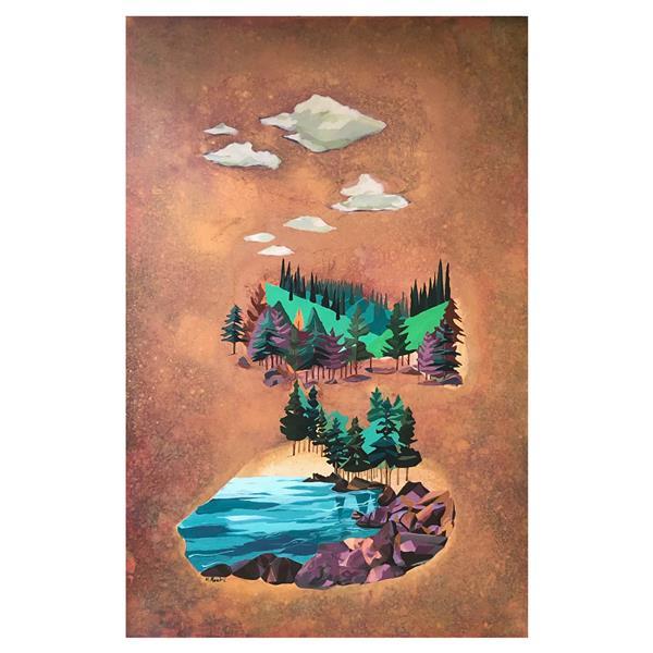 هنر نقاشی و گرافیک محفل نقاشی و گرافیک Mariam_moeini #مریم معینی #دریاچه #اکریلیک روی بوم #سال ۹۹