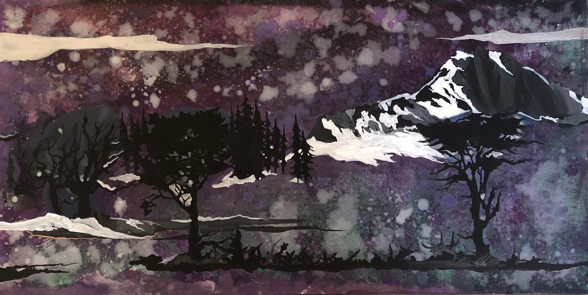هنر نقاشی و گرافیک محفل نقاشی و گرافیک Mariam_moeini #مریم معینی # افسانه زمستان # اکریلیک روی بوم # درخت #طبیعت