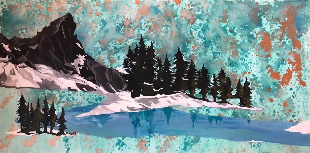 هنر نقاشی و گرافیک محفل نقاشی و گرافیک Mariam_moeini #مریم معینی #کاج #درخت #طبیعت # آب  #اکریلیک روی بوم