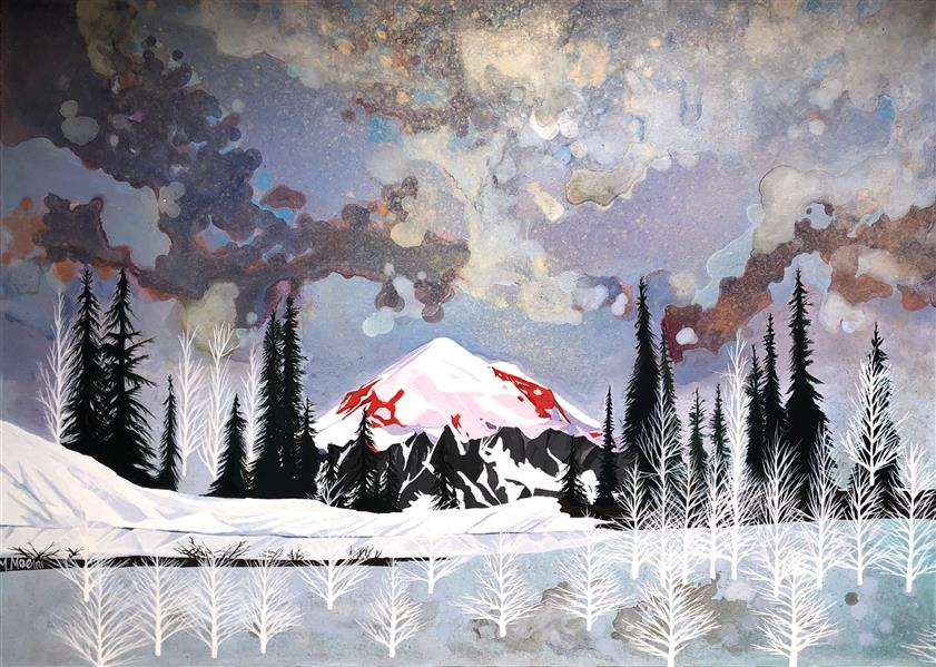 هنر نقاشی و گرافیک محفل نقاشی و گرافیک Mariam_moeini #مریم معینی #کوه رینیر #اکریلیک روی بوم #سال ۹۹ # درخت # کوه # طبیعت